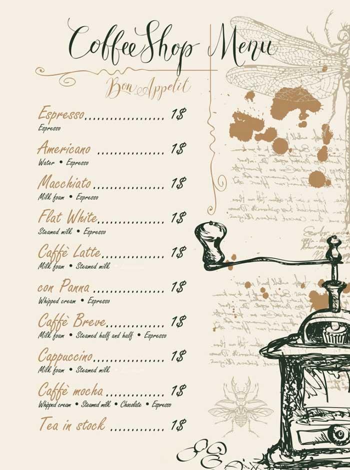 menu nhiều màu